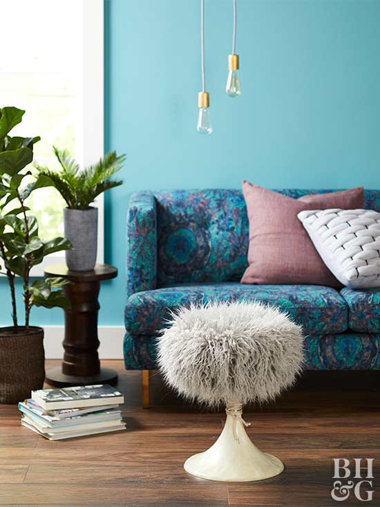 fuzzy ottoman, living room, couch, flea market projects