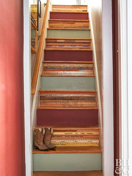 ruler staircase, diy, crafting, stairs, flea market projects