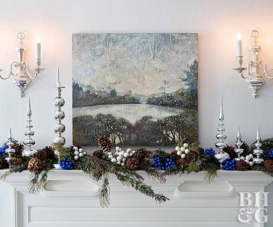 Happy Together silver and blue holiday mantel
