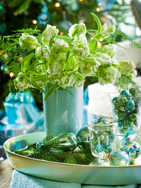 White Parrot Tulips and Fern