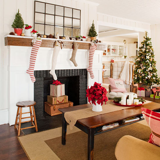 Family Room: Use Antiques and Family Heirlooms. Traditional Christmas Living Room