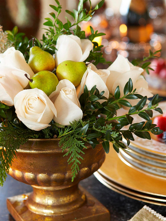 White Roses and Fruit