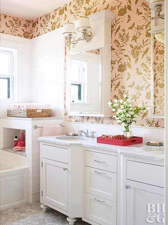 white cabinet bathroom with gold and pink floral & bird wallpaper