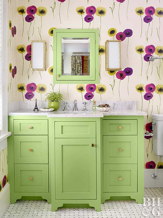 lime green vanity with floral wallpaper
