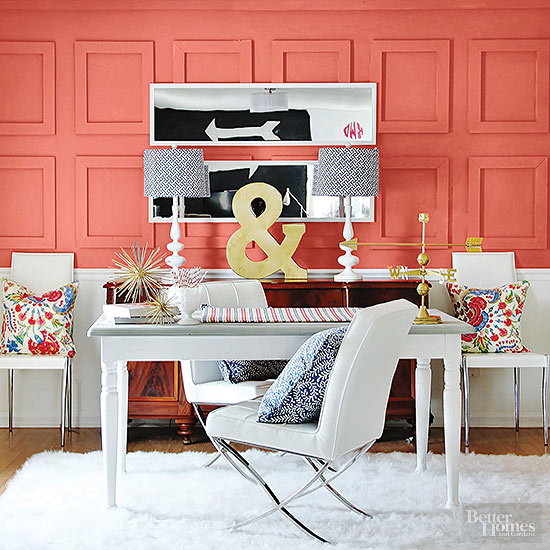 colorful painted woodwork, office
