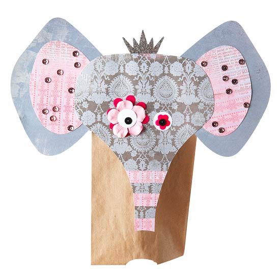 Gray elephant puppet with mismatched eyes