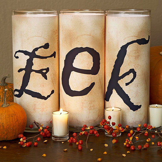 Mantel Candles with Spooky Letters