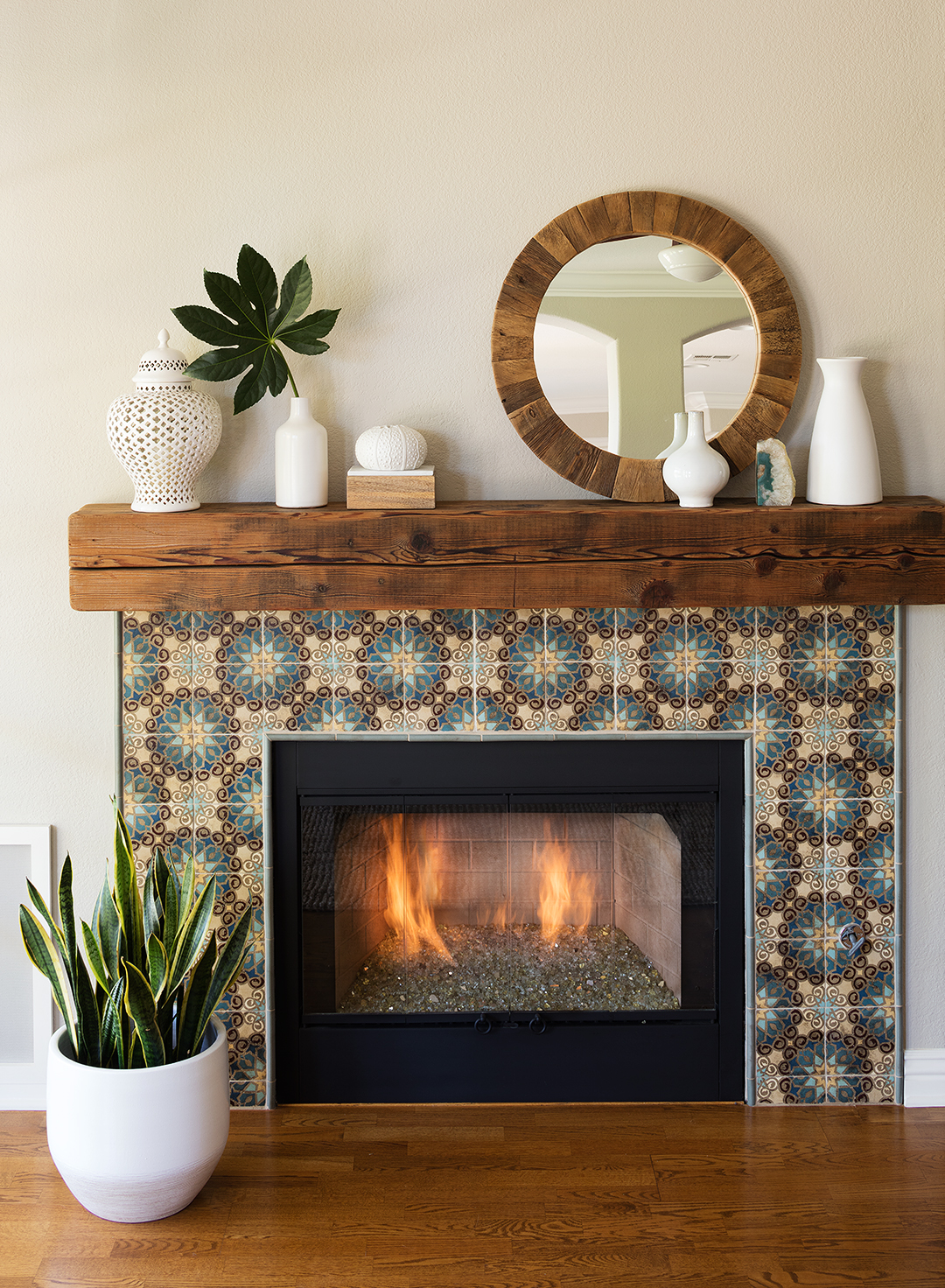 Fireplace Makeover After Mantel Plants Mirror Fire