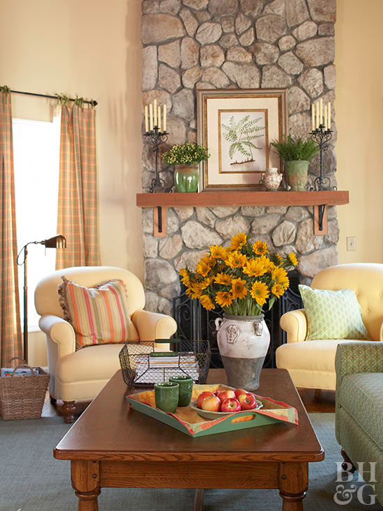 After Light And Cheerful Stone Fireplace