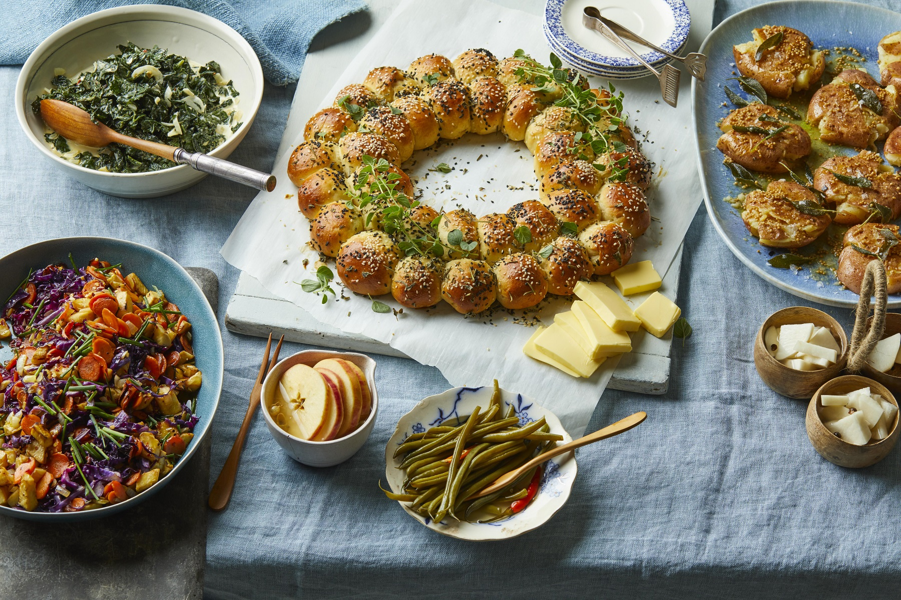 Tablescape of Carla Hall Thanksgiving side dishes