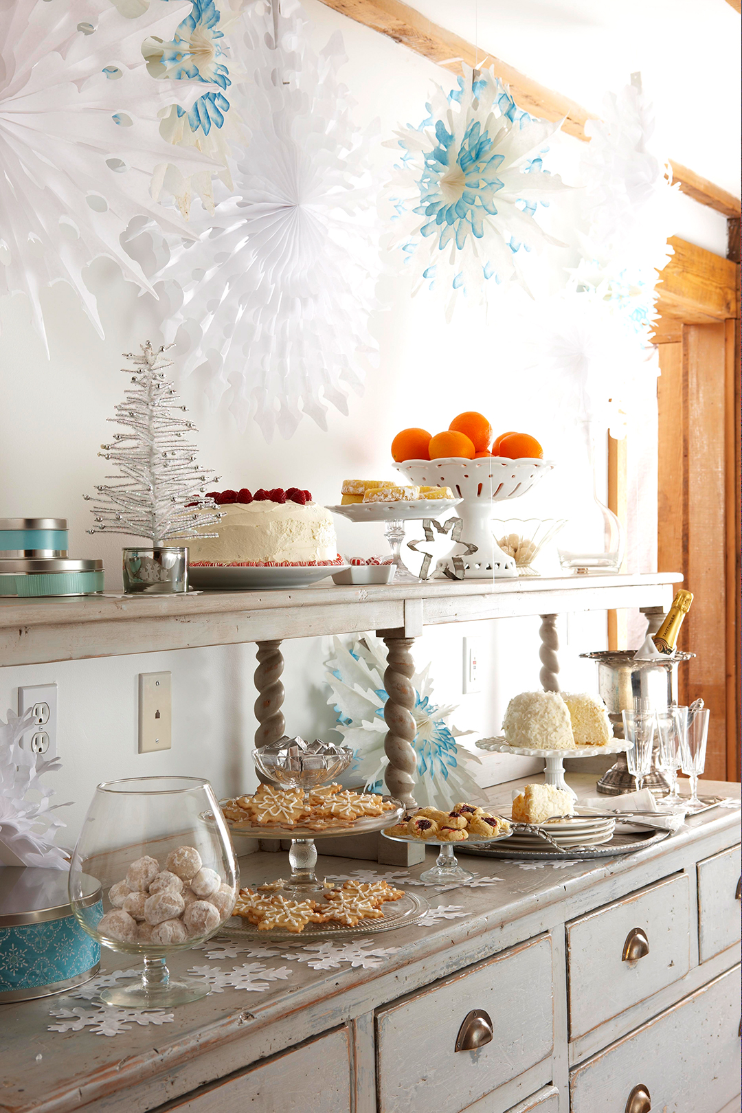 Decorate a Buffet with Snow Accents