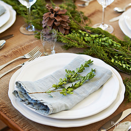 Linen and Greenery Place Setting