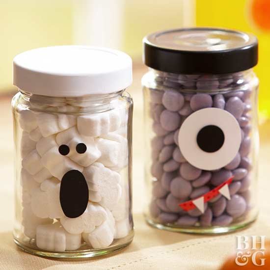 ghost and monster jars, candy, Halloween