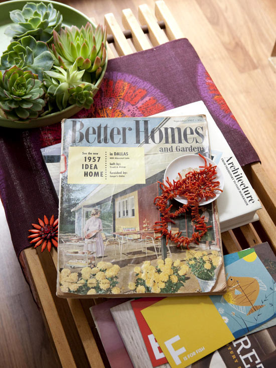 Vintage Better Homes & Gardens magazine on coffee table