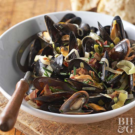 Mussels with Leeks and Pancetta
