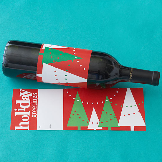 Red & Green Christmas Trees Wine Label