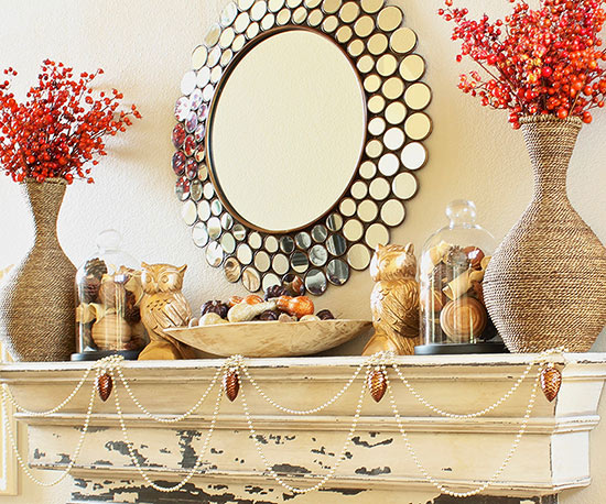 Gold and Glam Fall Mantel