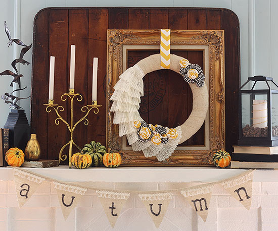 Layered Fall Mantel with Burlap and Lace Wreath