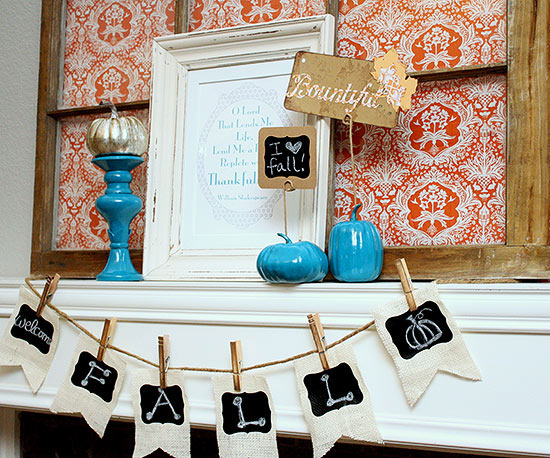 Turquoise and Orange Fall Mantel