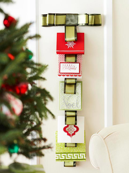 Ribbon Christmas Card Wall Hanging