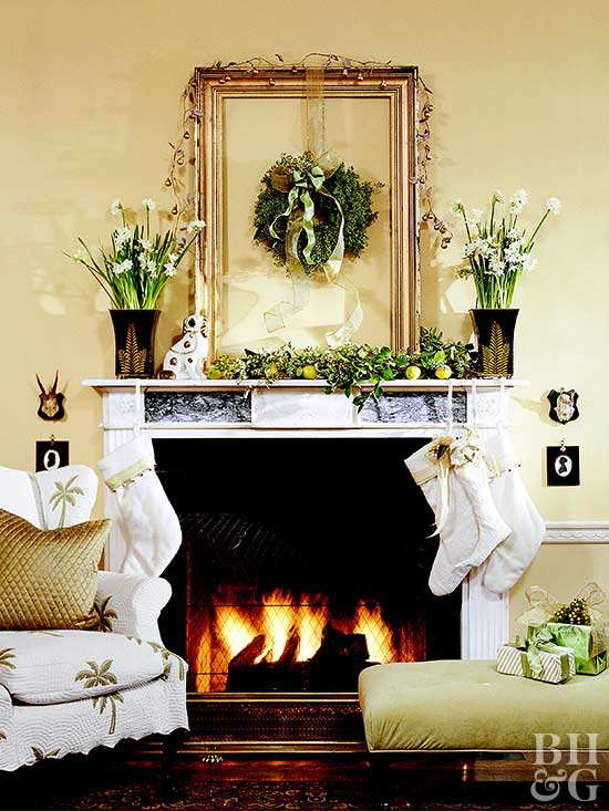 2 chairs by fireplace