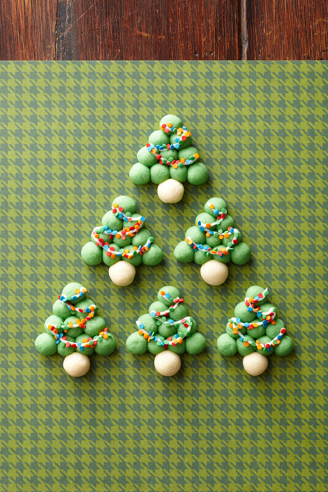 Snowball Trees arranged on houndstooth table cloth