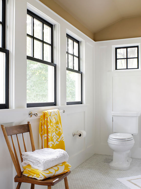 white bathroom black window trim