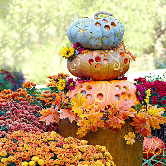 Whimsical Pumpkin Stack