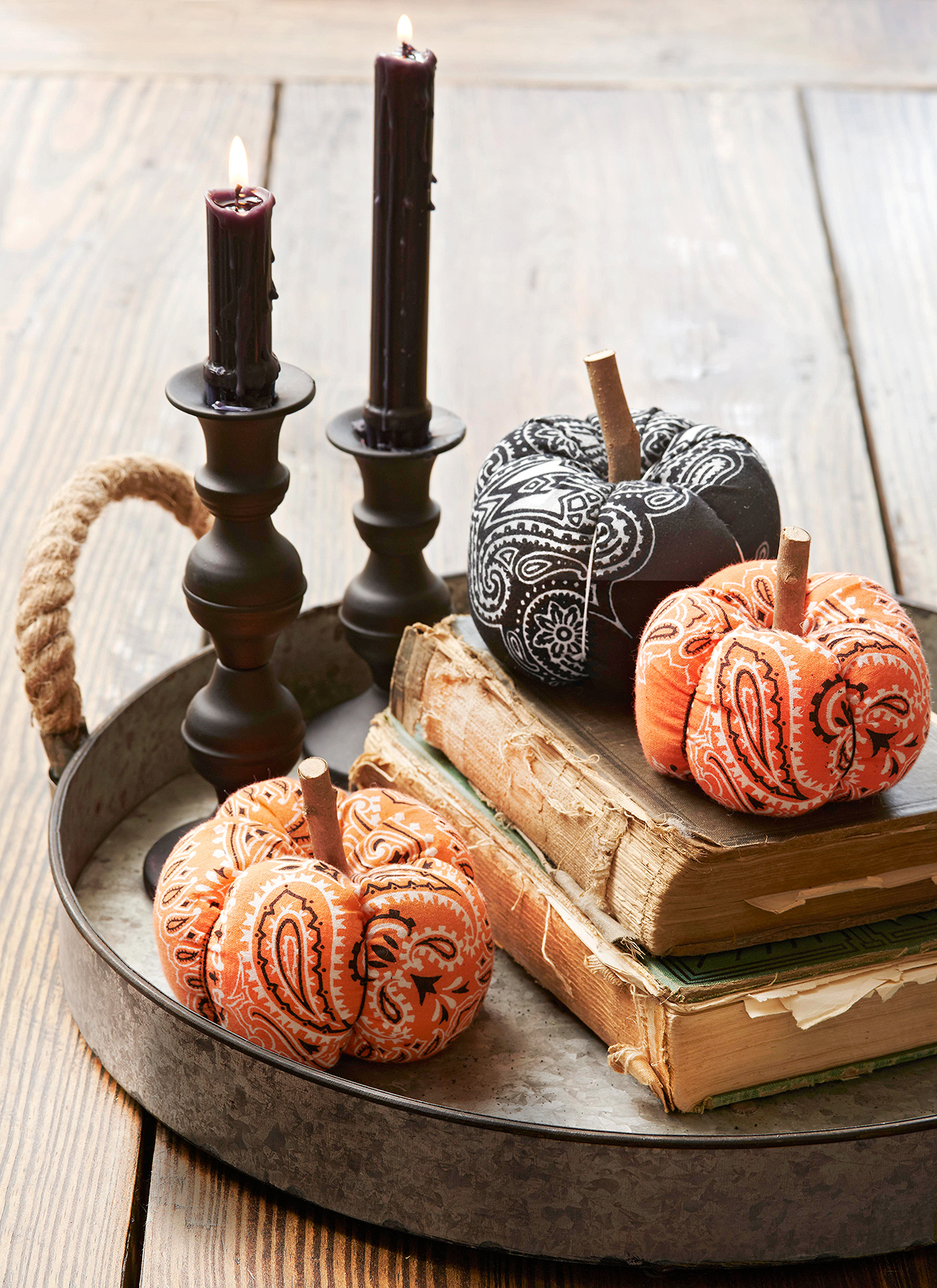 fabric pumpkins old books candles tray decor