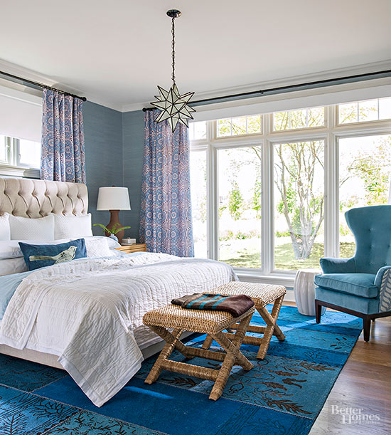 Pea Blue Teal And White Bedroom
