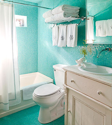 bright aqua tiled bath