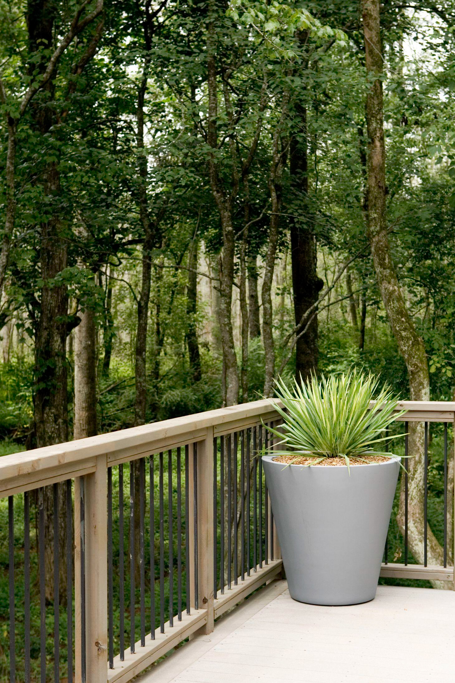Deck railing ideas Diy Potted Plant In Corner Of Wood Deck Railing Trees Yard Better Homes And Gardens Deck Railing Ideas