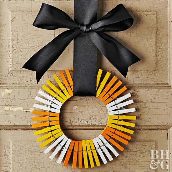 Halloween wreath, wreath, candy corn wreath