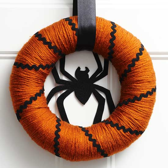 Orange and Black Spider Wreath