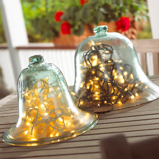 String lights in cloches