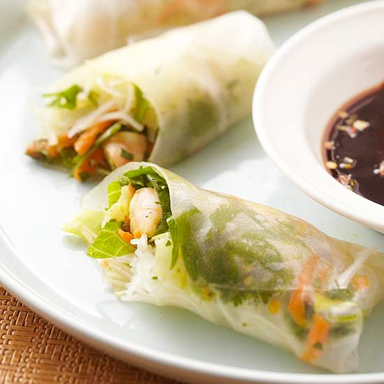 Shrimp Spring Rolls with Chimichurri Sauce