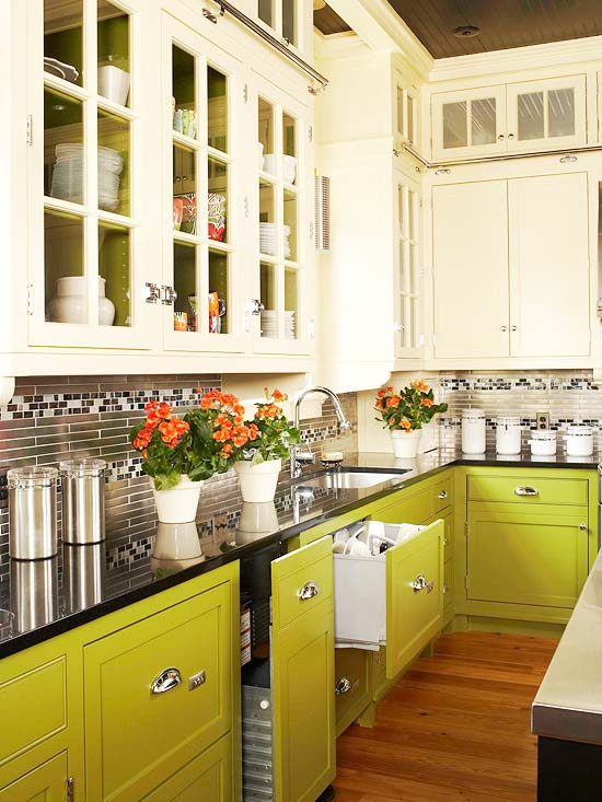 exciting green kitchens white cabinets | Green Kitchen Cabinets | Better Homes & Gardens