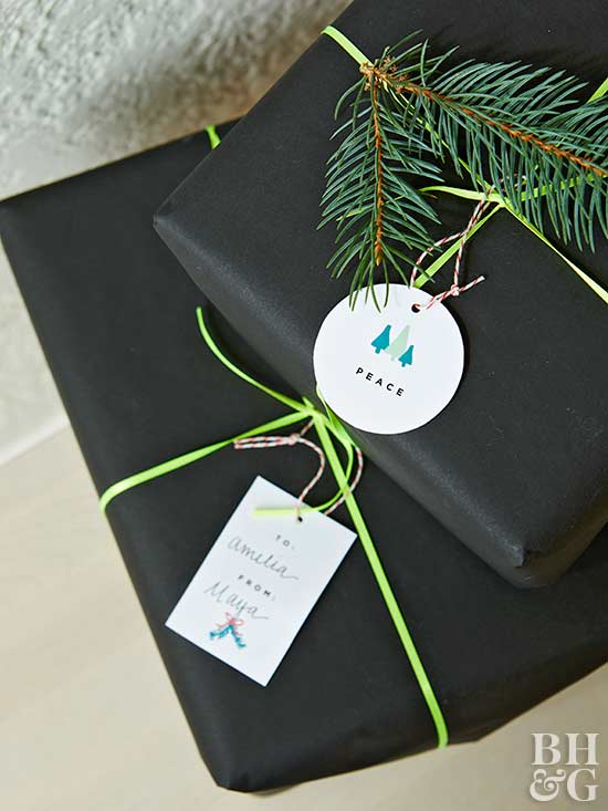black gift wrap and modern tags