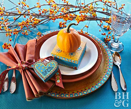 whimsical colorful thanksgiving place setting