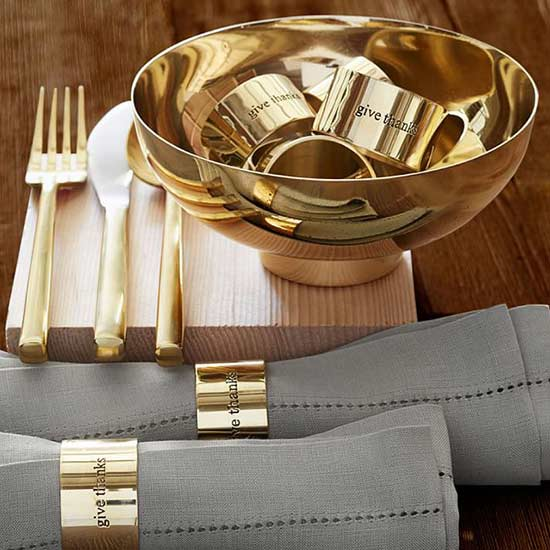 Thanksgiving Table - Pottery Barn - Give Thanks Napkin Rings