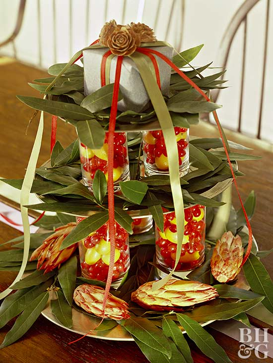 Centerpiece with Leaves, Fruit, and Ribbon