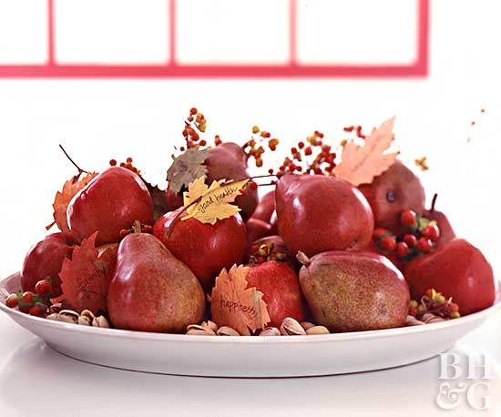 Bowl with Pears, Leaves, and Berries