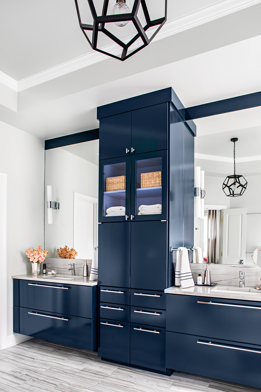 navy blue bathroom paint color cabinets and drawers