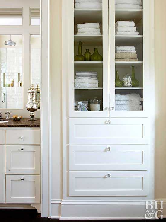 built-in drawers and cabinets for bath essentials