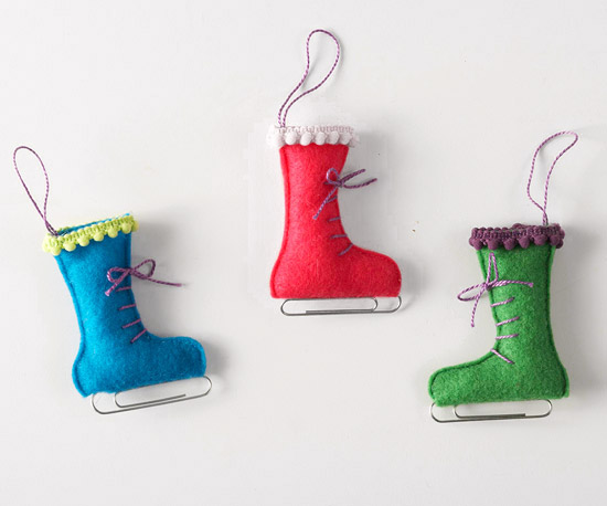 Felt and Paper Clip Ice Skate Ornament