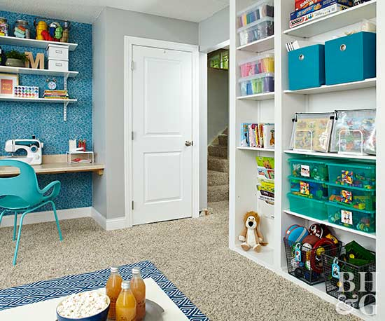 basement crafts room with storage