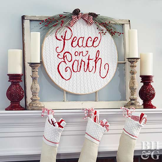 peace on earth embroidery holiday decor with stockings