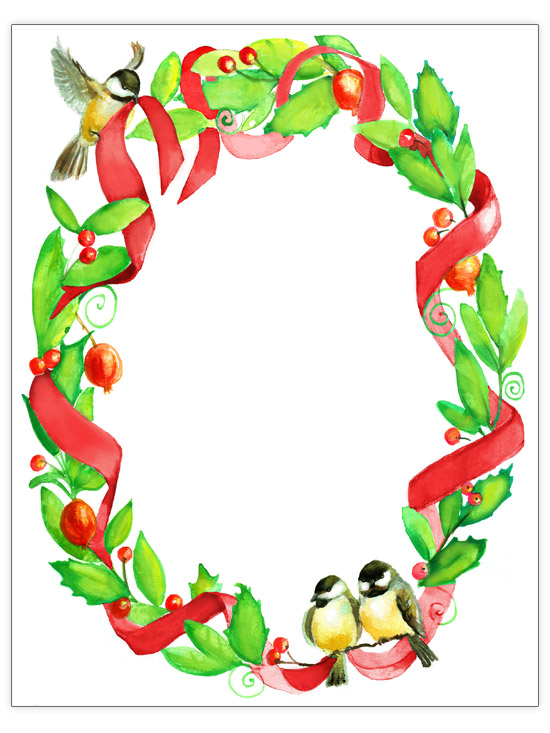 Ribbons, Birds & Holly Christmas Letter