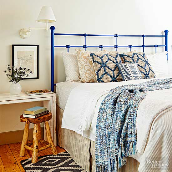 Accented Neutral Color Scheme Bedroom: Blue Bedroom Decorating Ideas