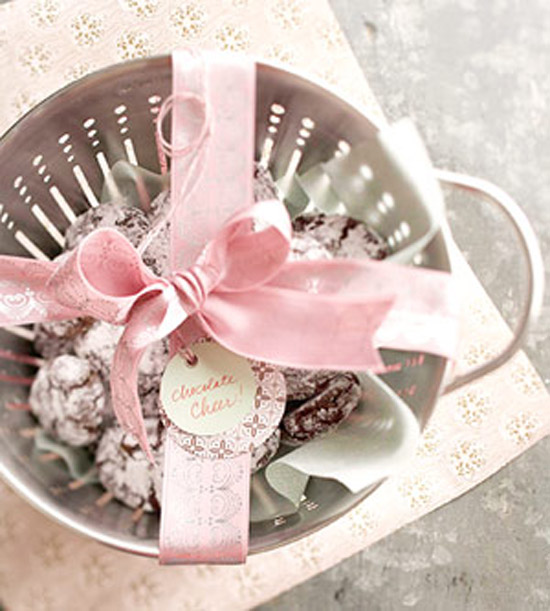 Chocolate Crinkles in colander with pink ribbon